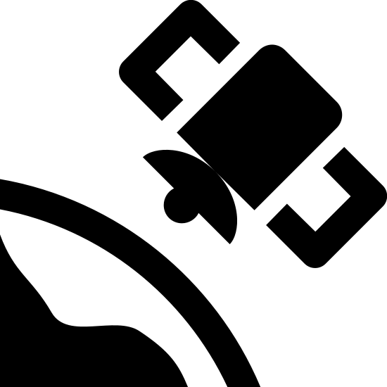 Satelita na orbicie icon. This logo is an icon of a satellite in orbit. It shows the outline of the earth in the left bottom corner and the orbit flying over it. The icon is a simple drawing in black and white. The orbit is drawn with simple symmetrical shapes.