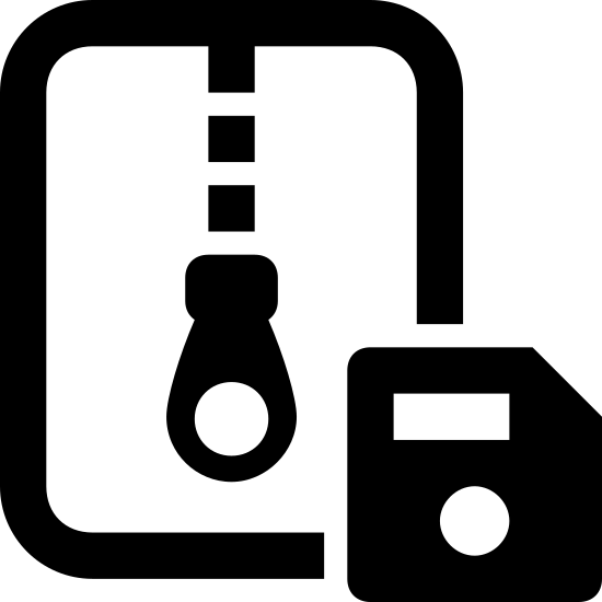 Save Archive icon. It's a logo of a rectangle in portrait orientation with a closed zipper coming down from the top of the rectangle to below the middle. On the lower right in front of the rectangle is a small square with its upper right section cut off with a horizontal line in its upper half and a fat dot in its lower half.