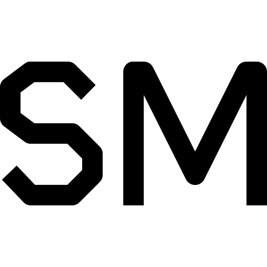 Znak towarowy icon. The letters S and M are next to each other each written out in bubble letters. The letter S follows a typical curvy font where-as the letter M is more jagged.