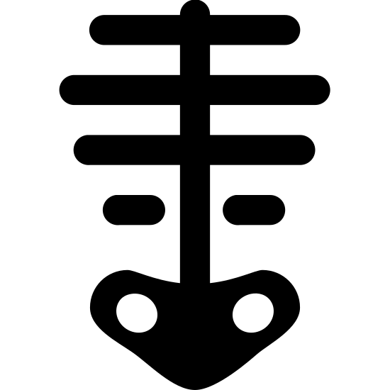 Skeleton icon. It is a very simplified skeleton. There is a centered vertical line (spine) with 4 equally-spaced horizontal lines intersecting it (horizontally centered on the vertical line), varying in width, indicating ribs. The vertical line meets a pelvis-shaped object at the bottom, which has 2 small holes/sockets.