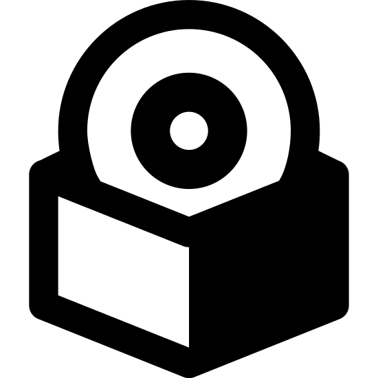 Pudełko z oprogramowaniem icon. There is a horizontal rectangle with a small thin line inside located near the center top position. Behind the rectangle, three-quarters of the top part of a circle is shown with a smaller circle in the middle and a dot inside that circle.