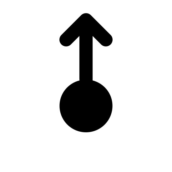 Przesuń w górę icon. It is an icon of a circle with an arrow above it. The arrow is coming out of the top of the circle and is pointing directly up. the arrow is the same length as the circle.