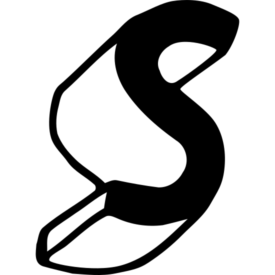 """Symbian icon. This is a logo of the letter """"S"""". The logo is popping out in a three-dimensional manner, the main """"S"""" to the right, and the three-dimensional trail behind it in the left."""