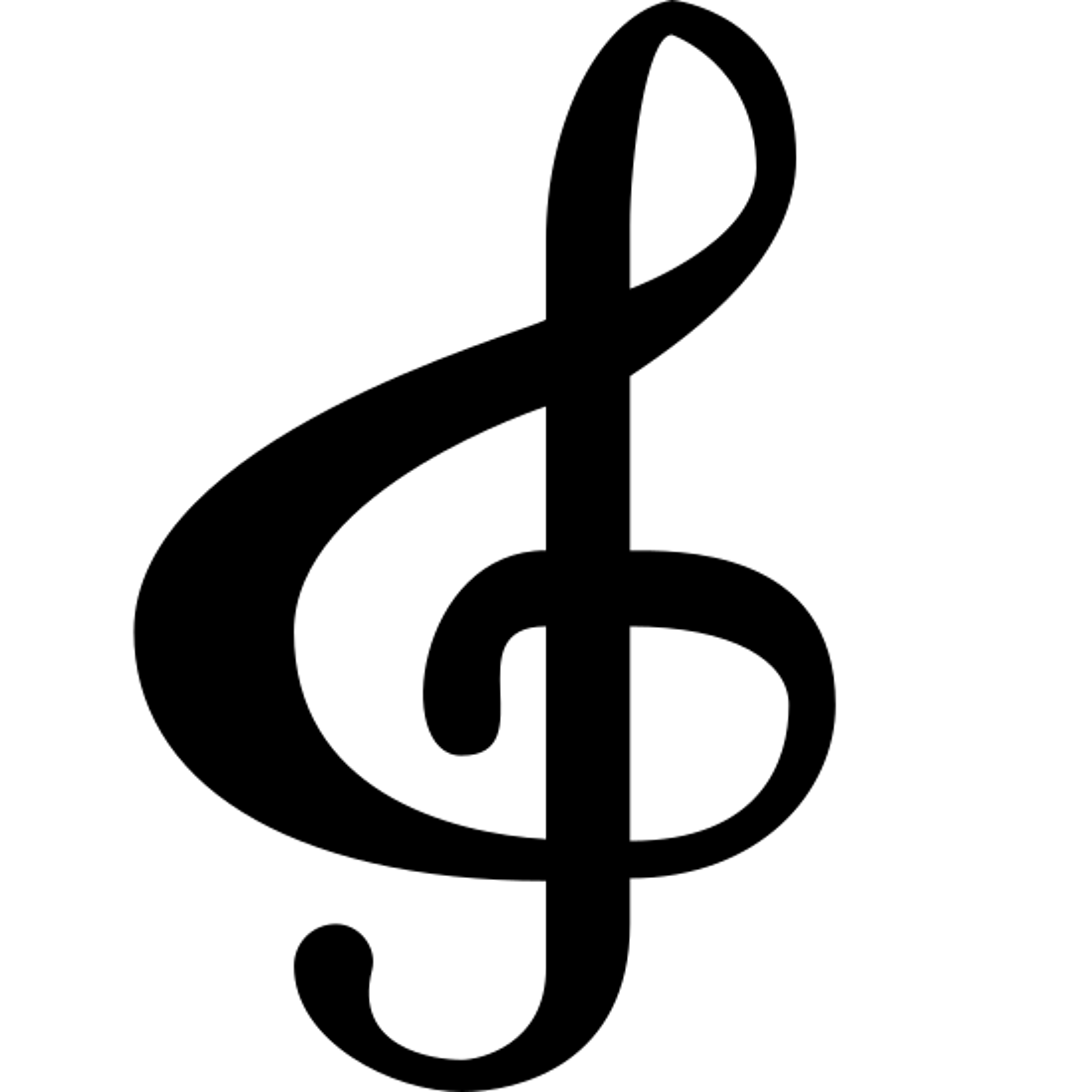 ト音記号 icon. The treble clef is like an ampersand that loops through. Its sort of like drawing a big nose and then the letter J through it.