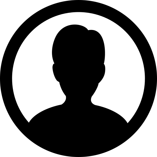 Male User icon. The logo is a silhouette of a male from the shoulders up. There are no features shown, other than the suggestion of ears at the side of the head. The silhouette is encased entirely in a circle.