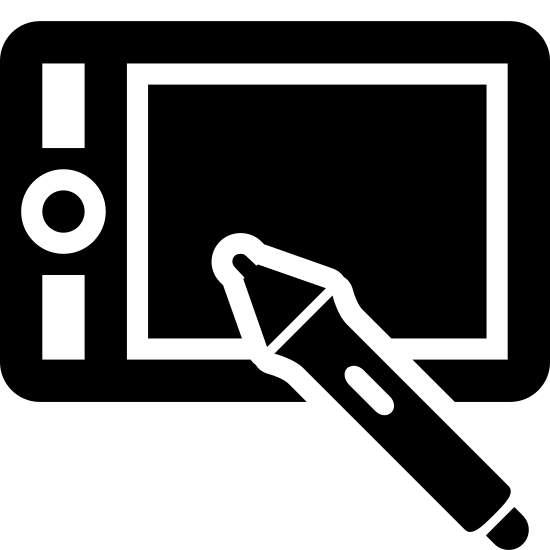 Wacom Tablet icon. This is a rectangle with another smaller rectangle inside of it. On the inner left of the inner rectangle is a circle with a dot in the middle, with small rectangle on the top and bottom of that.