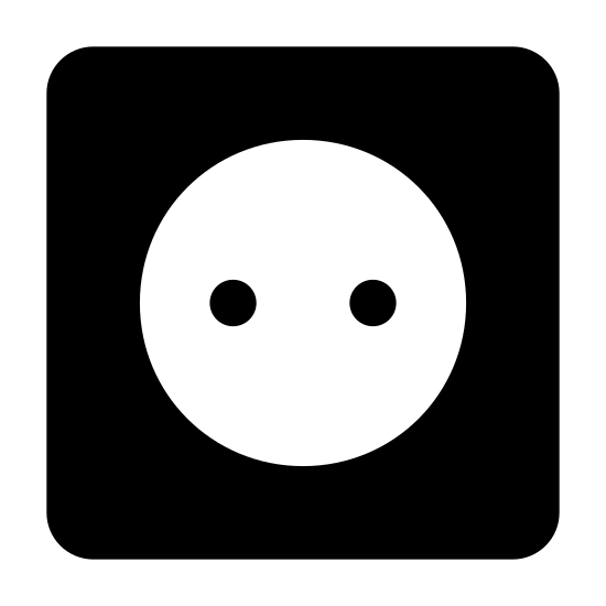 Gniazdko icon. The icon is shaped like a square with curved corners. Inside of it is a circle that takes up half of the square. Inside the circle are two dots, one at the left center and the other towards the right center.