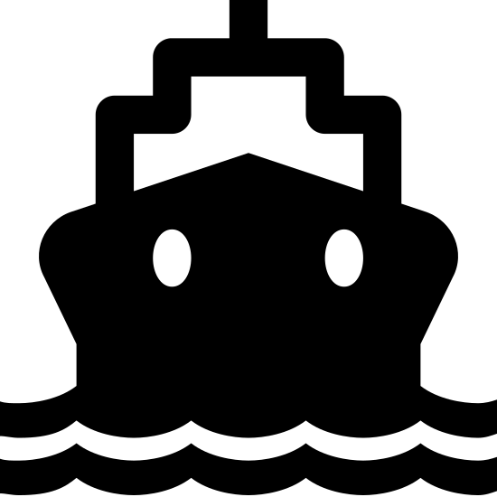 Transport wodny icon. There are two curved and pointed parallel lines at the bottom of the image that resemble waves in water. There is a hexagon shape just above the parallel lines with two ovals near the top of the shape. On top of that shape is a rectangle with the top two corners cut out and a short line extending vertically.