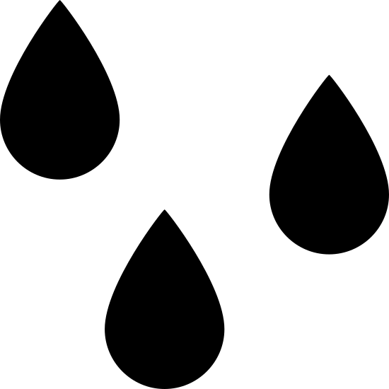 Mokry icon. There are three water droplets outlined. The farthest left is the highest, followed by the right and then middle.