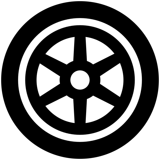 Wheel icon. Wheel is a circle with multiple layers of steel rims. The outler layer extends to all six sides while the inner layer is just circular.