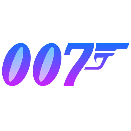007 icon. There is the letters 0 0 7 all written in an specialized italic font. Coming off the upper right tip of the 7 in the letters 0 0 7 is the upper part of a pistol. The barrel and trigger are both visible but not the clip as the clip area combines to make the 7.