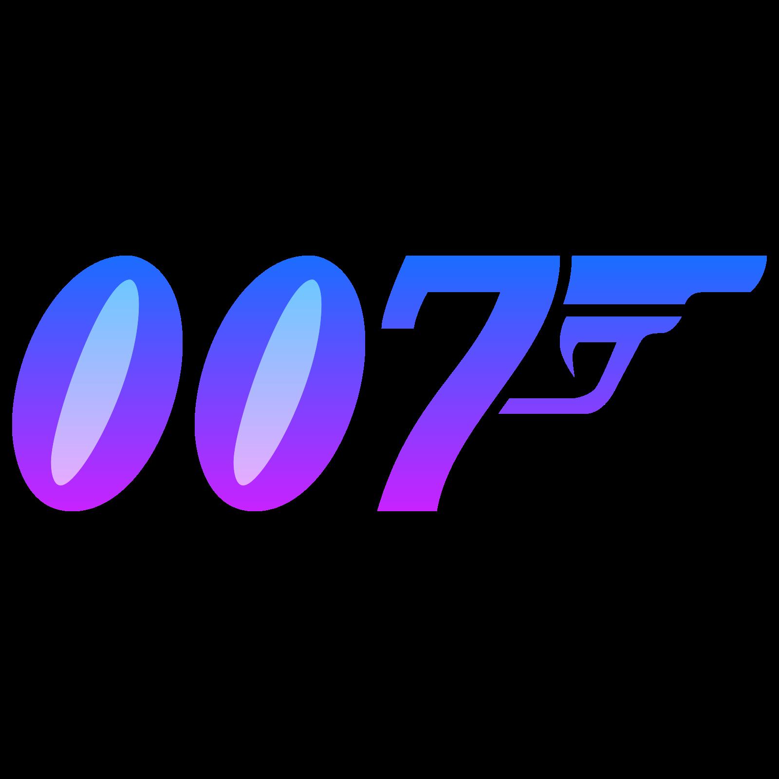 007徽标 icon. There is the letters 0 0 7 all written in an specialized italic font. Coming off the upper right tip of the 7 in the letters 0 0 7 is the upper part of a pistol. The barrel and trigger are both visible but not the clip as the clip area combines to make the 7.