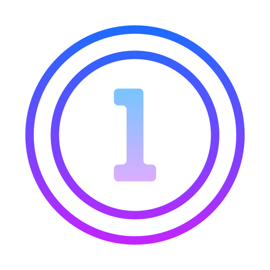 1st icon. It's an icon of a number one enclosed in a circle. The number is circled, possibly to indicate that a list will follow or a question may follow the icon. The icon is entirely black and white.