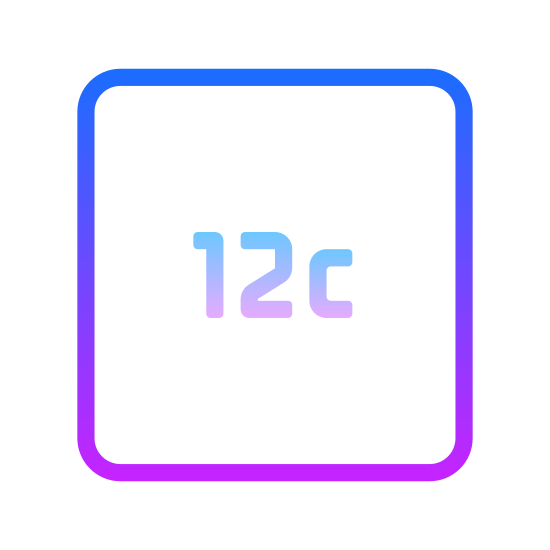 12c icon. There is a square with rounded corners. Inside of the square is the number 12 with a lowercase c to the right of it.