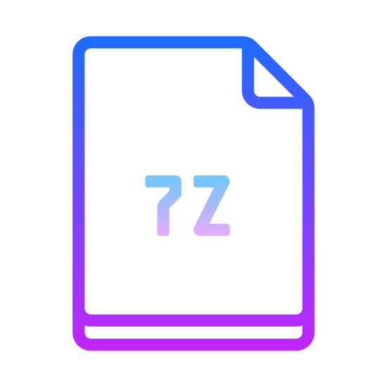 "7Zip icon. There is a rectangle, that is long vertically. The upper right corner is folded down into a triangle, representing the paper being dog-eared. In the middle of the rectangle is the text, ""7z."""