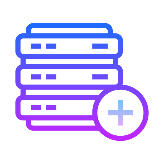 """Dodaj bazę danych icon. It's a drawing of a cylinder that is divided into three short cylinders stacked directly on top of each other. It's like the shape of a three layer cake. There is a plus sign inside of a circle that is placed over the bottom right of the cylinder to indicate, """"add database."""""""