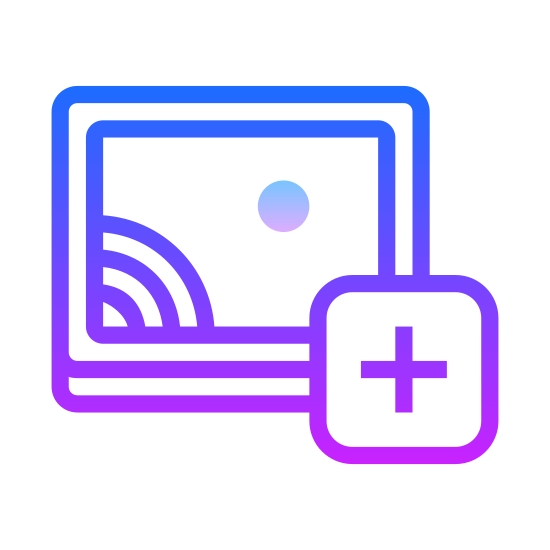 Add Image icon. This logo is to depict adding an image and has a curvy picture frame with a smaller rectangle inside of it. There is a plus sign inside of that rectangle.