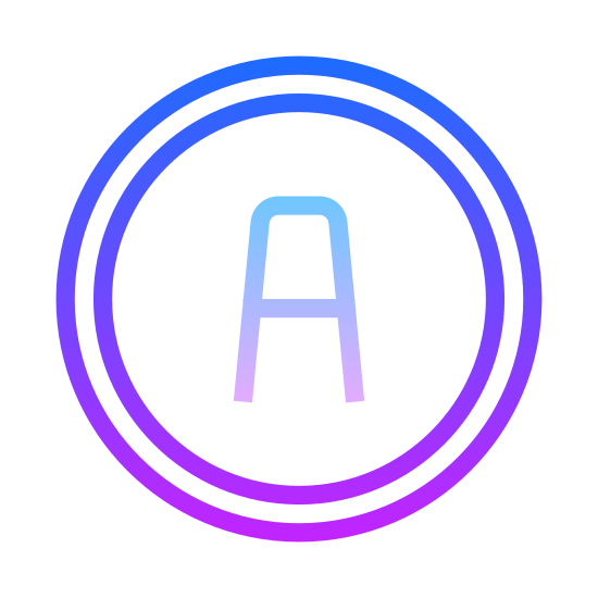 Additional icon. The icon is very simply composed of an empty circle with a large, upper case letter A in the center, about as wide as the circle's radius. The icon stands for the presence of additional elements outside of the ones currently being represented on the screen.