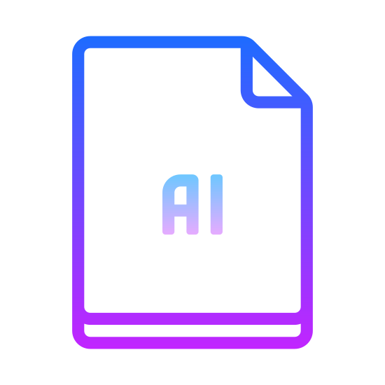 """AI icon. There is a rectangle with the top right hand corner folded over towards the center.  In the center of the rectangle is a capital letter """"A"""" and a capital letter """"I""""."""