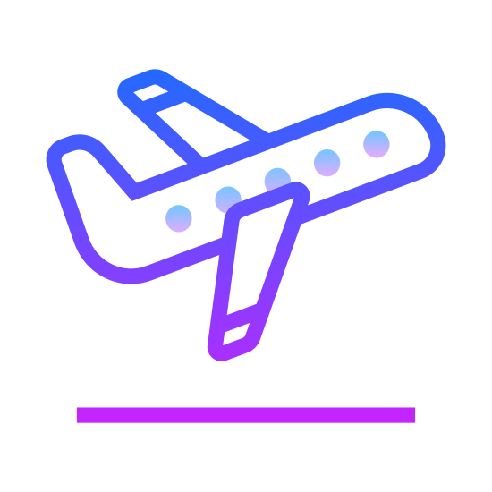 Decollo Aereo icon. It's an airplane. The body of the cabin is long and narrow. The plane has two winds on each side, both triangular in shape. The back of the plane had a upwards tail that is taller than the rest of the plane.