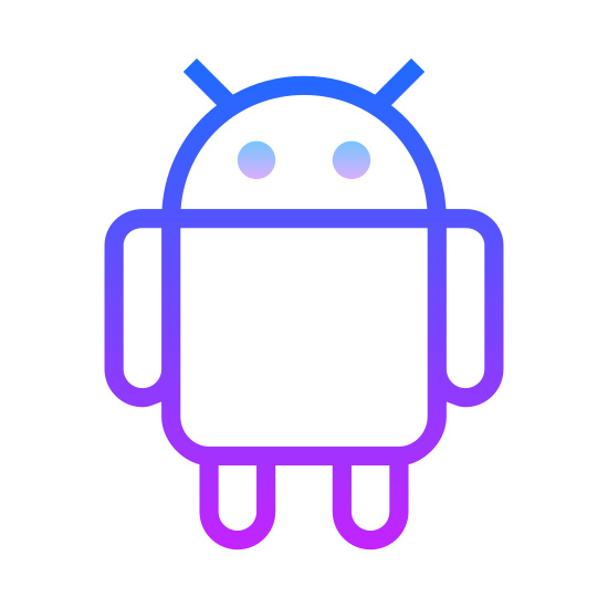 Android OS icon. It is a friendly looking robot, with a square body, arms and legs, and two antenna coming out of his head. He only has eyes, no nose or mouth.