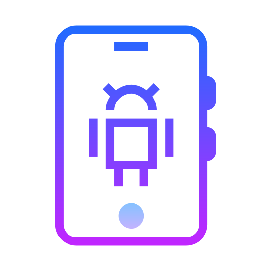 Android icon. It is a logo of Android which is a icon that looks like a smart phone and in the center it has a robot. The robot has a half circle has a head, a square shape body, and 2 lines for the arms and 2 lines connecting the body as the legs.