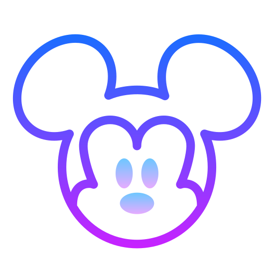 Animation icon. The icon resembles a round head with two round ears. The head is a circle and is connected at the top left and top right corners with two smaller circles about one-third of the size of the original circle. The image is drawn in one continuous line so there is no line separating the ears from the head.