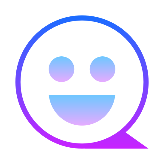 Anmeld icon. There is a circle. there is a shadow at the right side. the circle has 2 circles for eyes and a half circle for a mouth. it resembles a happy face.