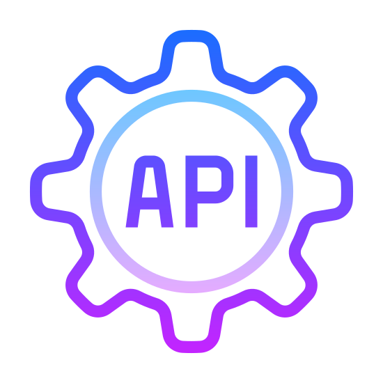 Rest API icon. There is a cork typed shape. there are many different angles to this object but inside of it, it says API in large font. the shape resembles cogs in a machine