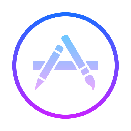 Apple App Store icon. This is a circle with several symbols on the inside. The symbols include a pencil, a paint brush, and a rectangle. They are aligned in a triangle shape. The pencil is on the left, the brush is on the right, and the rectangle is at the bottom.