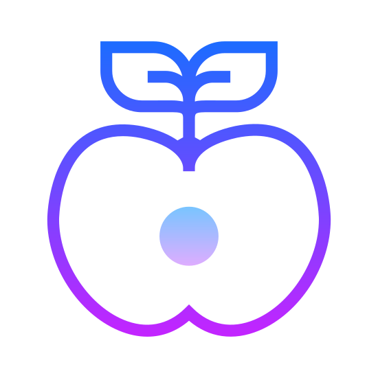 Jabłko icon. The icon is a picture of an apple. The icon has a stem on the top with a leaf coming out of the right side of the stem. The apple would appear to be cut in half, as there are what appears to be two seeds in the middle of the icon.