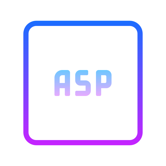 ASP icon. The ASP icon, a perfect square with the letters A S P emblazoned on it. It's almost reminiscent of a key from a keyboard, judging by the design and font type. It's hard to tell, though.