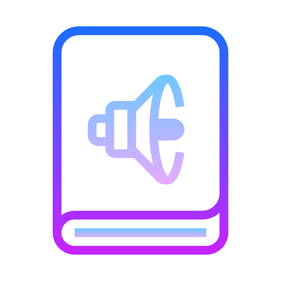 Audiobook icon. This is a picture of a book. on the bottom you can see the width of it and it's pages. on the cover of the book is the icon for a speaker, or sound, showing that audio is playing.