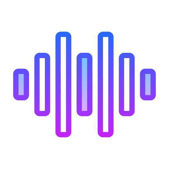 Audio Wave icon. It is a sequence of perfectly vertical lines. The lines are uniform in weight/width, but vary in height. They are all vertically aligned along an invisible horizontal center line. The lines vary from shortest to medium to longest, then back down to shortest. This pattern repeats one more time.