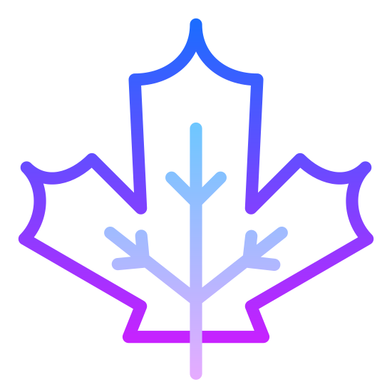 Jesień icon. It's a maple leaf, starting at the bottom with a curved stem and leading into the three major points of the leaf. Each section of the leaf has three curved triangles.