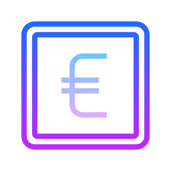 Bank Euro icon. This icon is a square shape with the Euro symbol inside of it. The Euro symbol is a rightward facing arch shape, like an open parentheses, with two horizontal lines through the center, like an equal sign in the middle of a C.