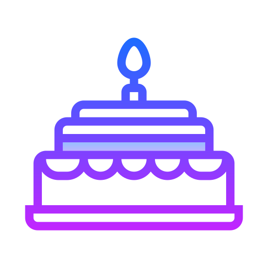 Birthday Cake icon. This is an icon for a birthday cake. The cake is on a plate and there is icing on the cake also. The cake has one candle and the candle is lit.