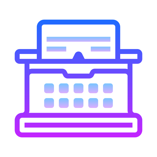 Blog icon. It is a typewriter with dots instead of letters for the typewriter. There is a piece of paper in the typewriter with two lines of texts. The lines of text are literally lines.