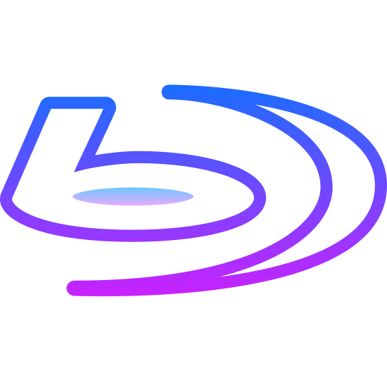 """Blu Ray Disc Player icon. The icon is a  blu ray disc player. The play has an icon that looks like a half moon with the letter """"b' besides it. Underneath this you see a rectangle with a small rectangle and circle in it."""