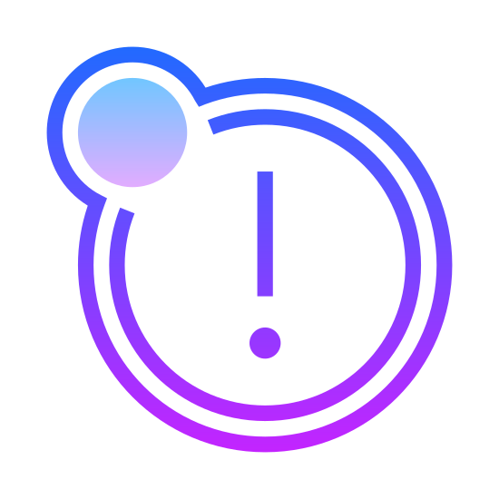 Box Important icon. The icon is shaped like a fully circle. Inside of the circle going down the middle is a thin vertical rectangle shape with a square underneath. Both shapes resemble an exclamation point when put together.