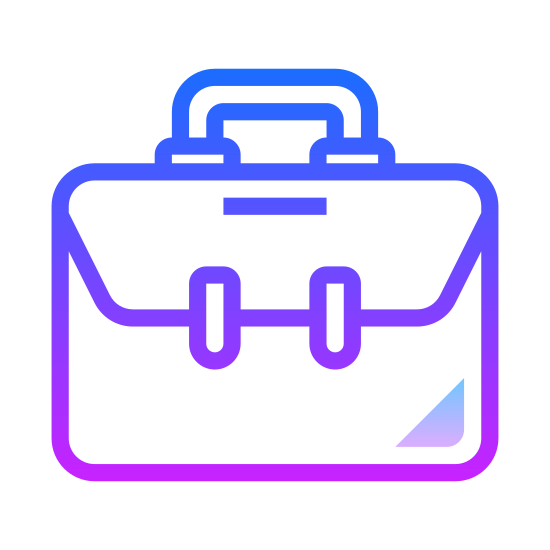 Briefcase icon. The icon shows a briefcase that is closed with a handle on the top. It represents something to do with business. The briefcase has a flap that is folded over the front to close rather than a latch.
