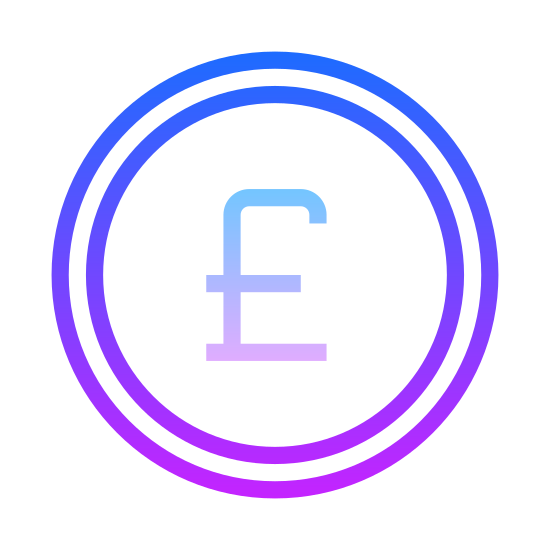 Funt brytyjski icon. This icon is depicting the symbol for the Great British Pound currency unit enclosed within a circle as if to indicate this a unit of money or a coin. The symbol rests precisely in the center of the circle.