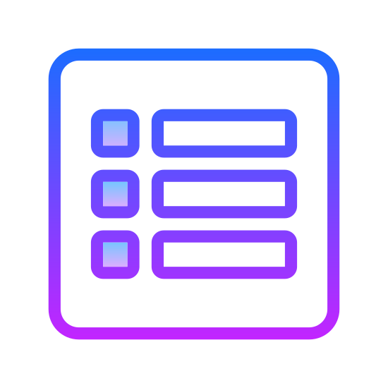 Lista wypunktowana icon. It's a logo of bulleted list. It's three horizontal lines going downward each with a circle next to it. This is a list kept in order to be organized. Like on paper or in a book, or in a phone.