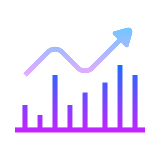 Zwyżkowy icon. This concerns investing money. When stocks are on the rise it is called bullish. The symbol is an arrow on top of a series of lines in a row standing upward and progressing higher and higher. The arrow follows the highness of the lines.