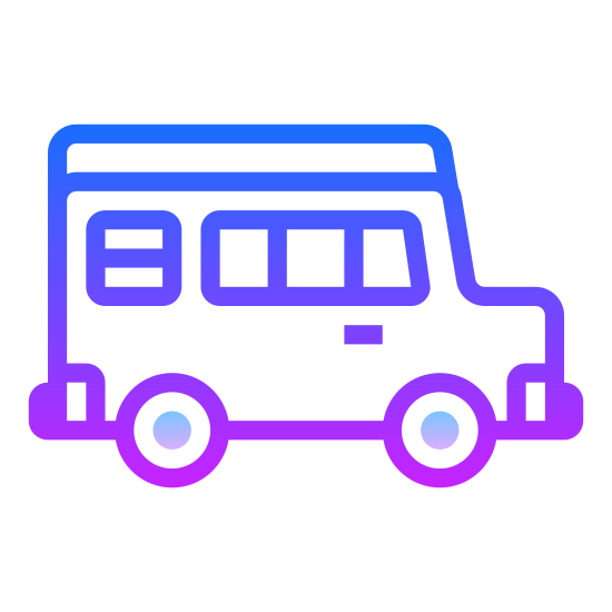 Autobus icon. A square is used to create the body of the bus. A rectangle placed closer to the top than the bottom is used for a windshield. A very narrow rectangle is between the top of the rectangle and the highest point of the square, which is where a route or street name is typically found. A thin rectangle on either side of the square is used for mirrors and two small rectangles are beneath the square and aligned with the sides for the wheels. There are also two small circles near the bottom of the square for headlights.