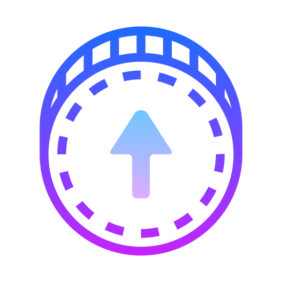 "Buy Upgrade icon. This icon for ""buy upgrade"" is depicted as a large circle. Inside of the circle, at its very center. is an arrow that points upward. Around the inner edge of the circle is a series of small dots that run along the entire interior of the circle."