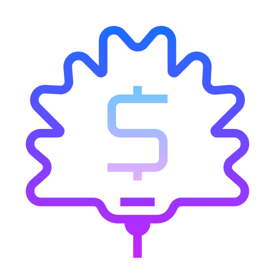 Dolar kanadyjski icon. A Canadian dollar icon is a maple leaf with a dollar sign in the center. A maple leave consists of many zigzag edges, but a flat bottom with a stem attached. The dollar symbol is a S but on the top and bottom of the S, there is a little line attached to it.
