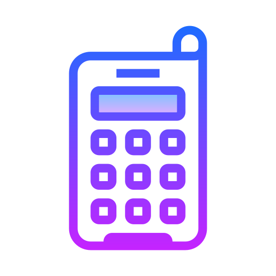 Handy icon. It's a picture of an old school cell phone. Or it could be considered to be just a modern land line. It just has nine black dots for the keypad, a small rectangle for the screen, and a smaller rectangle for the antenna.