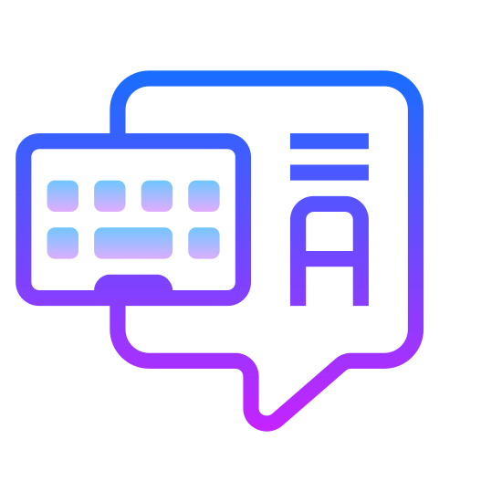 Chat icon. It is an image of two overlapping speech bubbles. The one in the foreground has a tail pointing to the left. The one in the background has polka dots in the bubble and a tail pointing to the right.