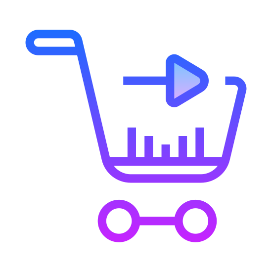 Checkout icon. The icon is a shopping cart that one might push in the supermarket. There is a handle, basket, under carriage and two-wheels under neath it. Within the basket is an arrow pointing to the right.